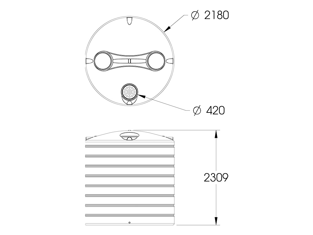 ART 7500 Round Tank Dimensions