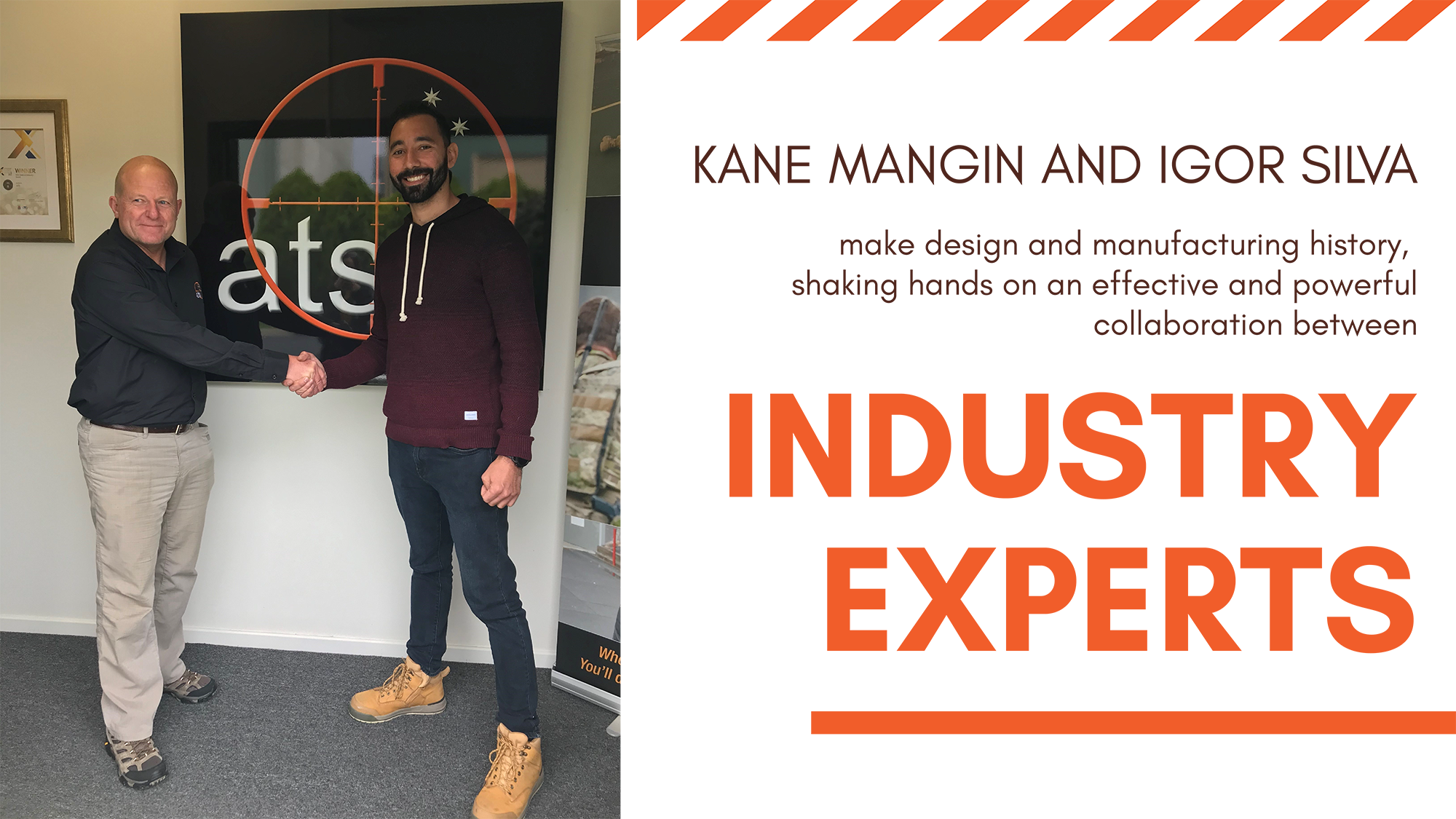 Igor Silva and Kane Mangin handshake, text: Kane Mangin and Igor Silva make design and manufacturing history shaking hands on the efficient collaboration between industry experts.