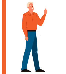 A happy, blonde man with a bright orange shirt giving a thumbs up.