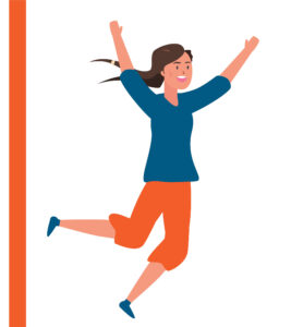 Happy braided girl with orange pants jumps for joy!