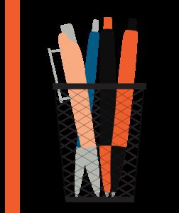 pens in a basket