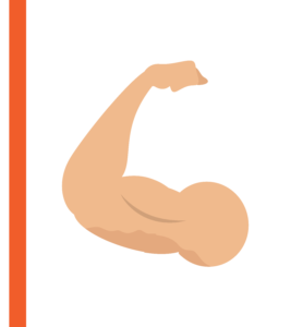Muscled and flexed arm graphic