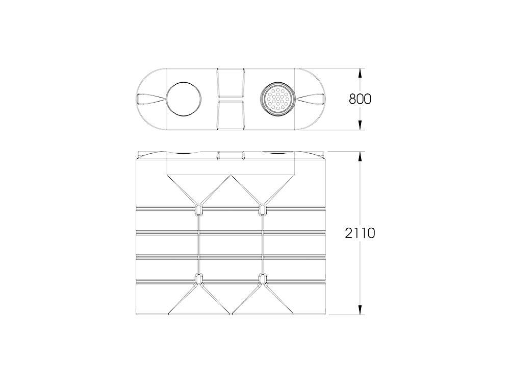 SLR 3B 3000 Slimline Tank Dimensions