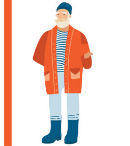 A jolly blonde older man in an orange coat, a striped top, and wellington boots.