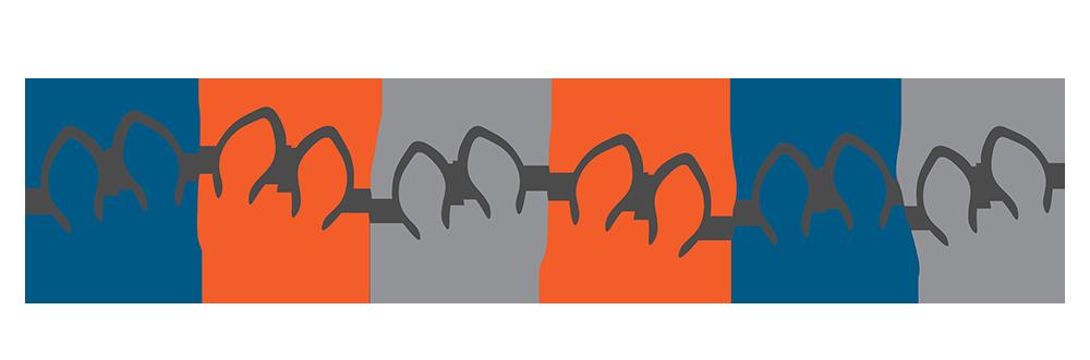 Line of flip-flops in alternating colours (dark blue, orange, grey)