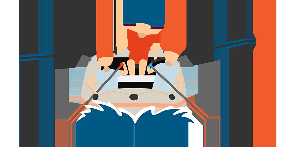 three friends whitewater kayaking