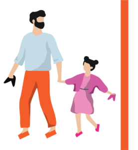 Father and daughter walk holding hands, holding their shoes in their hands and sporting a pair of fresh flip-flops.