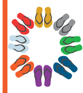 Coloured flip flops laid flat in a circle from a bird's eye view