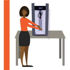 Graphic of woman using a 3D Printer