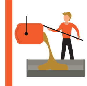 Graphic of a man pouring molten metal into a cast