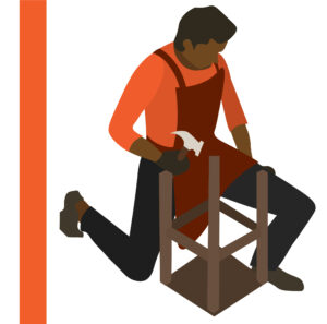 Graphic of man with a hammer putting together a chair