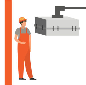 Graphic of man standing beside a closed rotational mould