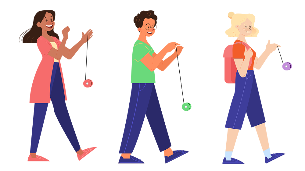 three people lined up, all yoyoing their yoyos-15