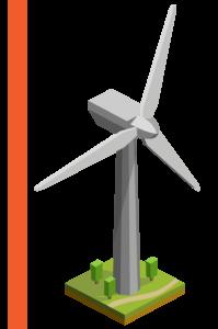 Wind turbine on the land