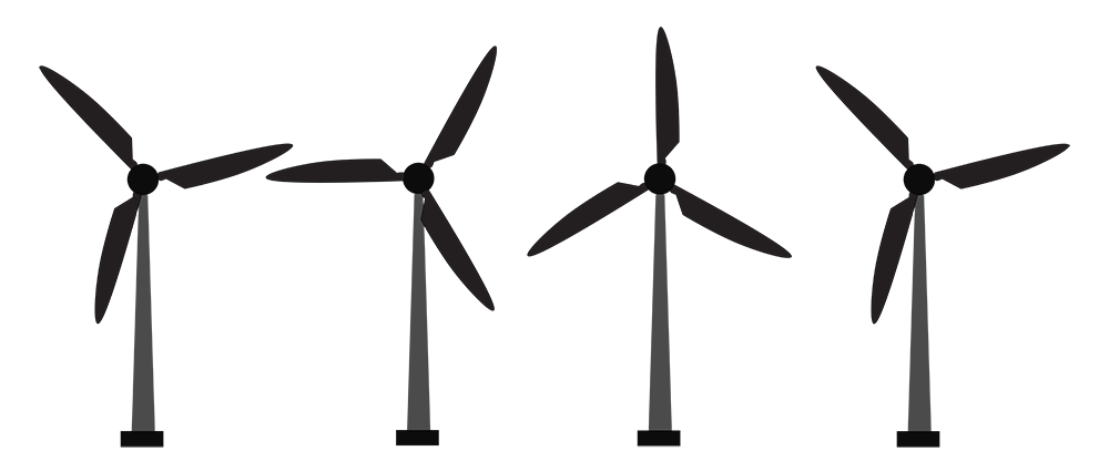 wind turbines lined up